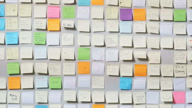 wall full of post it notes - reminder stock videos and b-roll footage