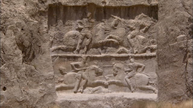 ms zi wall of ancient tomb with bas relief, near persepolis, iran - bas relief stock videos & royalty-free footage