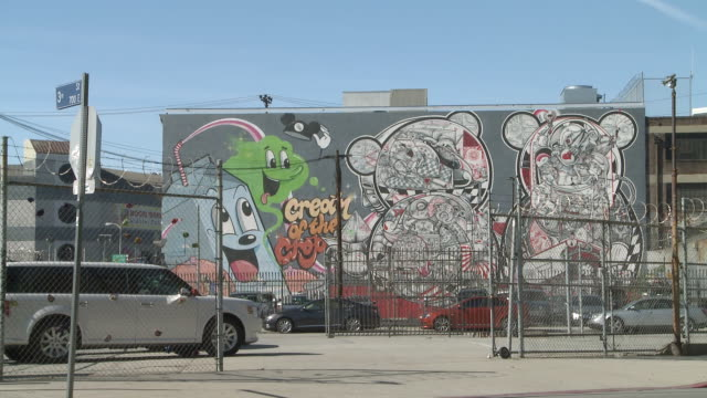 ms wall of graffiti in los angeles / los angeles, california, united states - graffito stock-videos und b-roll-filmmaterial