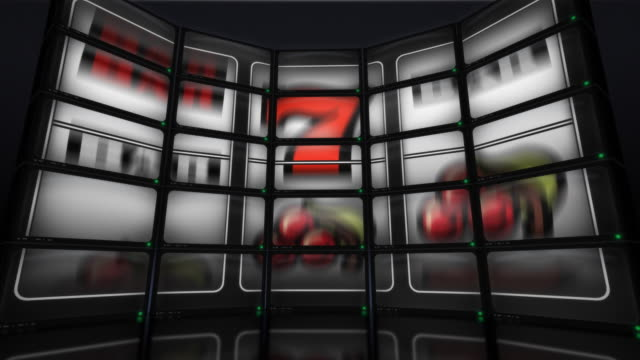 stockvideo's en b-roll-footage met wall of video slot machine - getal 7
