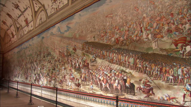 ms pan wall painting in hall of battles, el escorial, northwest of madrid, spain - palace stock videos & royalty-free footage