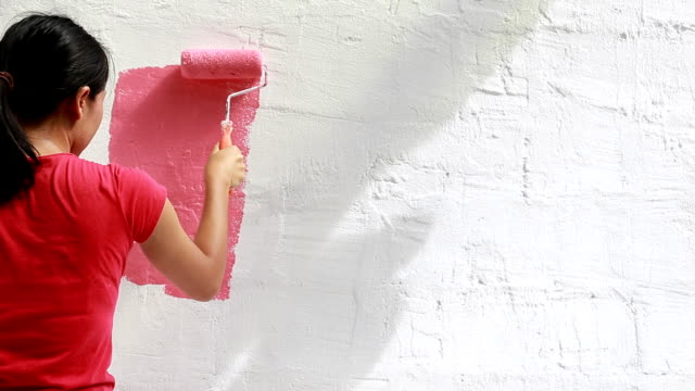 wall painting - paint roller stock videos & royalty-free footage