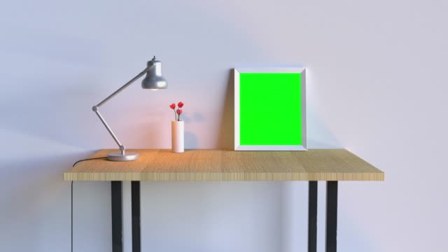 wall scene table silver lamp blank frame green screen white room 3d rendering - template stock videos & royalty-free footage