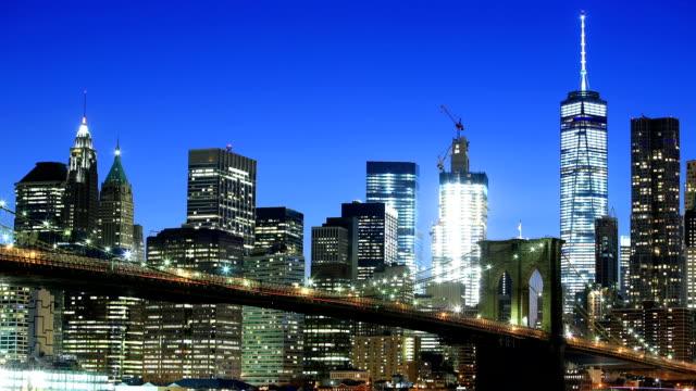 ウォール街と 1 つの世界貿易センター - ブルックリン橋点の映像素材/bロール