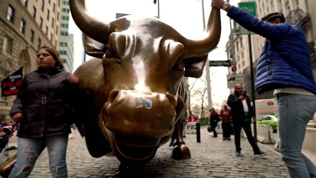 wall street bull, bowling green - wall street video stock e b–roll