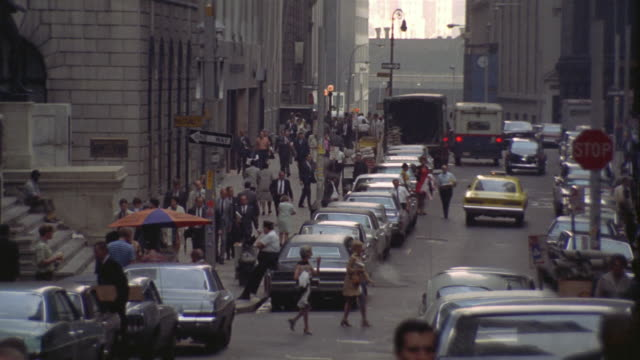 wall street, car parking on sidewalk - 1969 stock videos & royalty-free footage