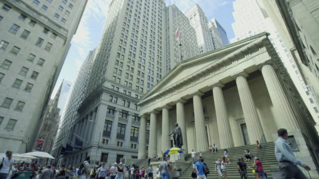 wall street - pan - borsa di new york video stock e b–roll