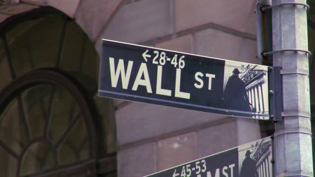 wall street sign. - new york stock exchange stock videos and b-roll footage