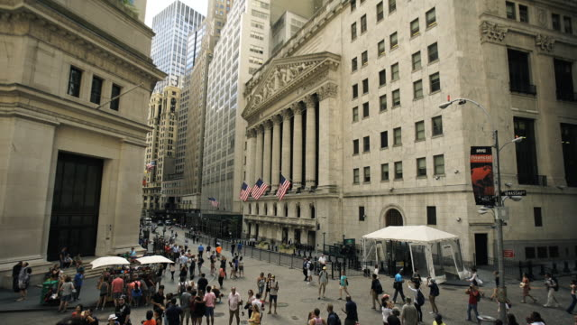 wall street stock exchange - financial building stock videos & royalty-free footage