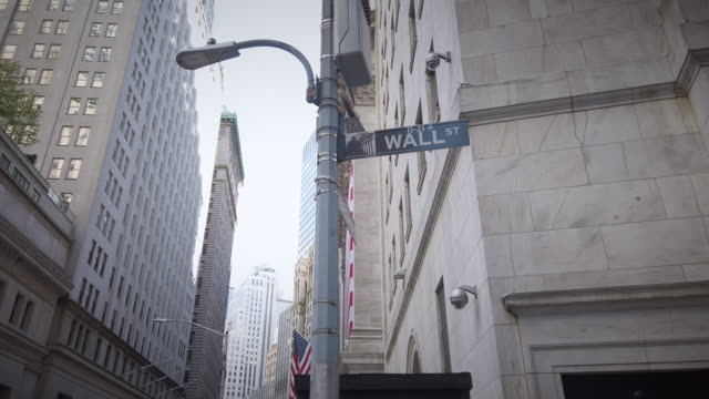 wall street street name sign in lower manhattan - street name sign stock videos & royalty-free footage