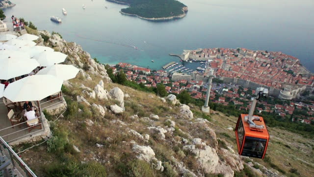 walled city, dubrovnik, croatia - overhead cable car stock videos and b-roll footage