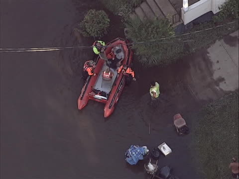 wallington new jersey aftermath flooding aerials aerial footage of rescue efforts by emergency personnel carrying raft hurricane irene of 2011 was an... - virginia us state stock videos & royalty-free footage