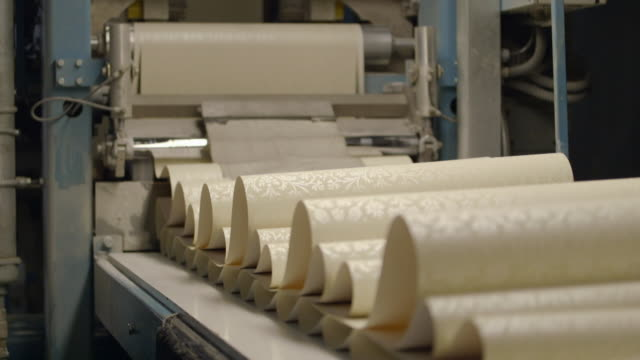 wallpaper being produced - production line worker stock videos & royalty-free footage