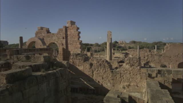 WS CS Walls and stone columns of roman ruins of Leptis Magna / Al Khums, Al Khums District, Libya