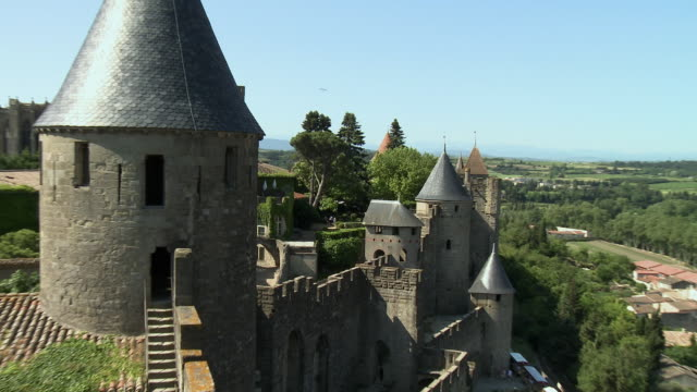 ZO WS Walls and towers of fortified city / Carcassonne, Languedoc-Roussillon, France