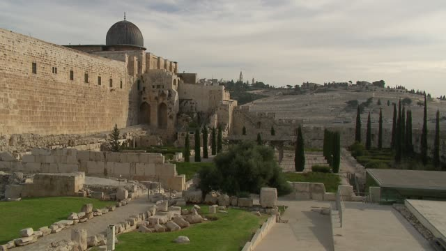 walls of old jerusalem and al-aqsa mosque - jerusalem stock videos & royalty-free footage