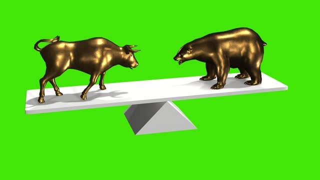 wallstreet bull and bear market concept animation 3d greenbox chroma key stock video. stock market up and down, finance risk trend investment business and money losing moving economic data - bull market stock videos & royalty-free footage