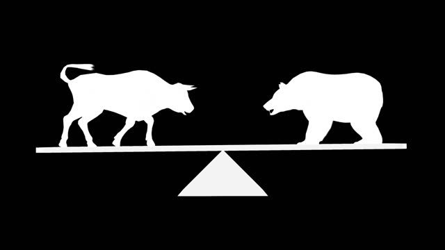 wallstreet bull and bear market concept animation 3d stock video. stock market up and down, finance risk trend investment business and money losing moving economic data - bull market stock videos & royalty-free footage