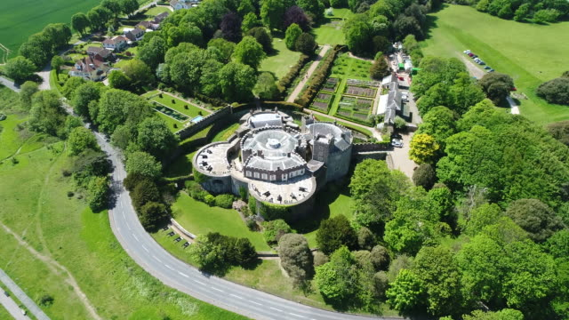 walmer castle kent aerial video north east corner orbit - fortress stock videos and b-roll footage