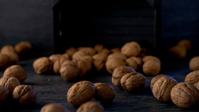 walnut are fall out from a basket, slow motion - nutshell stock videos & royalty-free footage