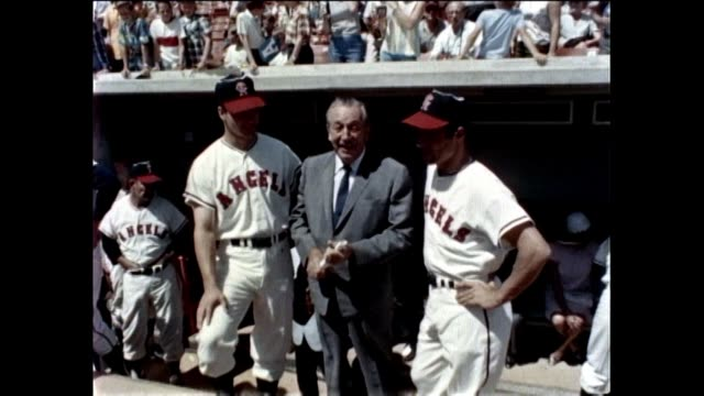 walt disney at angel stadium dedication in 1966 with gene autry and george murphy / walt disney puts on a show at angel stadium in anaheim california... - disney stock videos and b-roll footage