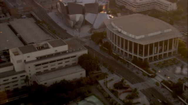aerial walt disney concert hall, los angeles, california, usa - dorothy chandler pavilion stock videos and b-roll footage