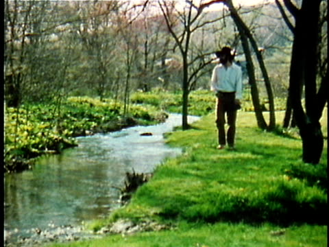1971 reenactment ws walt whitman walking along stream / 19th century united states / audio - poetry stock videos & royalty-free footage