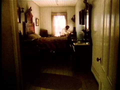 1971 REENACTMENT WS Walt Whitman writing at desk in bedroom / 19th Century United States / AUDIO
