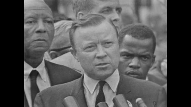 walter reuther, president of the united automobile workers, speaks at the march on washington - ワシントン大行進点の映像素材/bロール