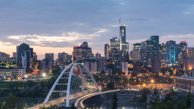 walterdale bridge against edmonton skyline - alberta stock videos & royalty-free footage