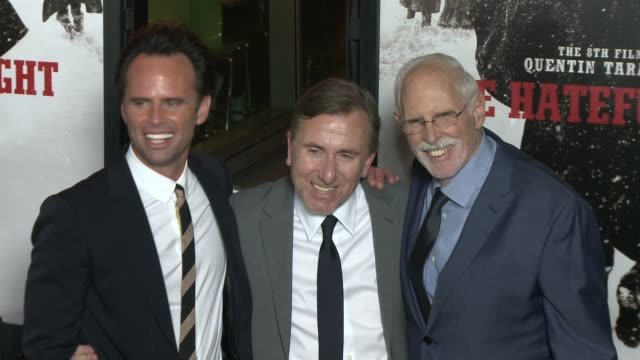"""walton goggins, tim roth, and bruce dern at """"the hateful eight"""" world premiere at arclight cinemas on december 07, 2015 in hollywood, california. - arclight cinemas hollywood stock-videos und b-roll-filmmaterial"""
