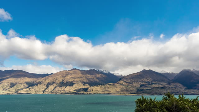 wanaka lake with blue sky, new zealand, time lapse video - sunny stock videos & royalty-free footage