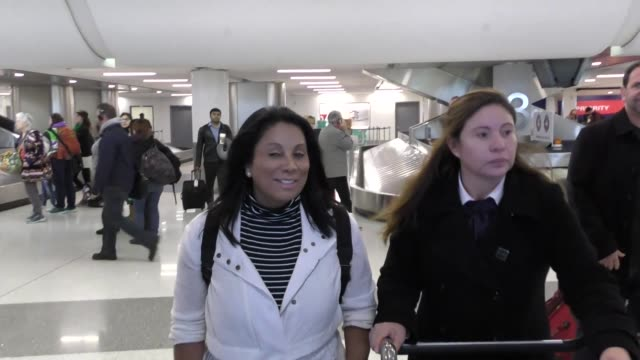 vídeos de stock, filmes e b-roll de interview wanda de jesus talks about the super bowl while arriving at lax airport in los angeles in celebrity sightings in los angeles - wanda de jesus