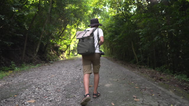 wanderer walks along an asphalt road with a backpack on his back - full length stock videos & royalty-free footage