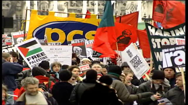 3rd anniversary protests england london antiwar protestors marching to mark the 3rd anniversary of the start of the war in iraq clean feed tape =... - iraq war stock videos and b-roll footage