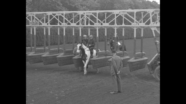 war admiral vs seabiscuit belmont park may 30th, 1938 official souvenir program / photographers take photos of seabiscuit with jockey red pollard in... - saddle stock videos & royalty-free footage