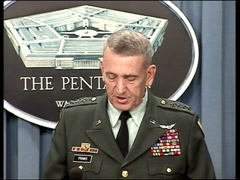 instability in baghdad pentagon usa washington dc donald rumsfeld general tommy franks at podium general tommy franks press conference sot our forces... - danneggiato video stock e b–roll