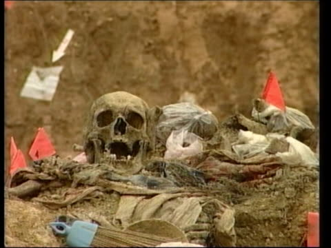 general ratko mladic reportedly close to arrest; lib potocari: human skull amongst other remains on surface of exhumed pit at scene of srebrenica... - ratko mladic stock videos & royalty-free footage
