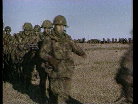 War crimes inquiry FALKLANDS WAR War crimes inquiry BBC POOL EXT SEQ British soldiers as marching on the islands