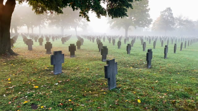 war graves in the fog - gravestone stock videos & royalty-free footage