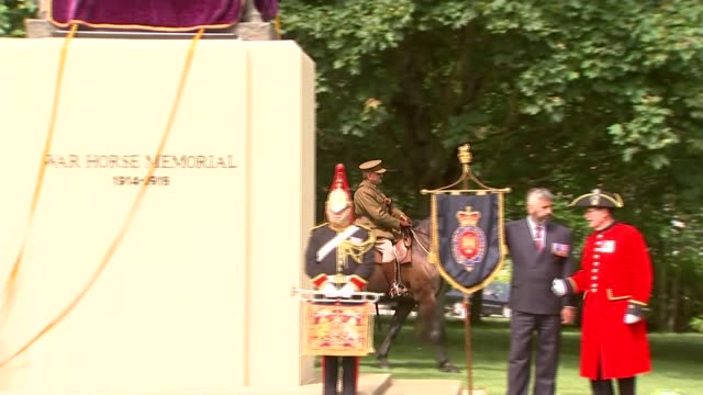 war horse memorial unveiled in ascot england berkshire ascot heatherwood roundabout ext trumpeter holding bugle with royal coat of arms / medals on... - royal horse artillery stock videos and b-roll footage