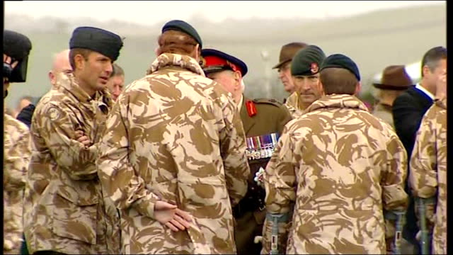 rifles battalion homecoming ceremony at base in northern ireland; northern ireland: county down: ballykinler: abercorn barracks: ext various shots of... - edwin bramall stock videos & royalty-free footage