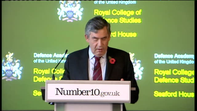 gordon brown speech at royal college of defence studies; gordon brown speech sot - the truth is, as we have always been clear, that we have not... - co ordination stock videos & royalty-free footage