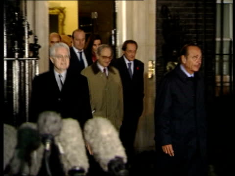 send in special forces/northern alliance preparations; itn - 4.11.01 england: london: downing street: ext at night lionel jospin , jacques chirac and... - lionel blair stock videos & royalty-free footage