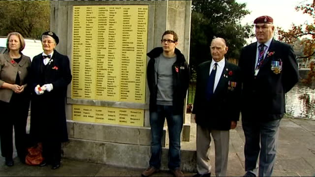 carshalton community rallies round veterans posing beside newly restored memorial medals worn by veterans tilt up unidentified woman interview sot... - brass stock videos & royalty-free footage
