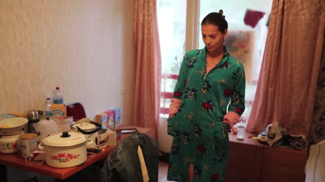 War refugees live in a one room apartment away from the front line in the Slavyansk area where the proRussians and Ukrainian military fought a major...