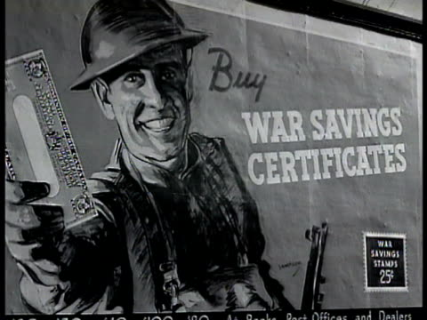 War Savings Certificates poster People in line in bank Man handing paper money to teller in behind bars Ornate teller cage World War II