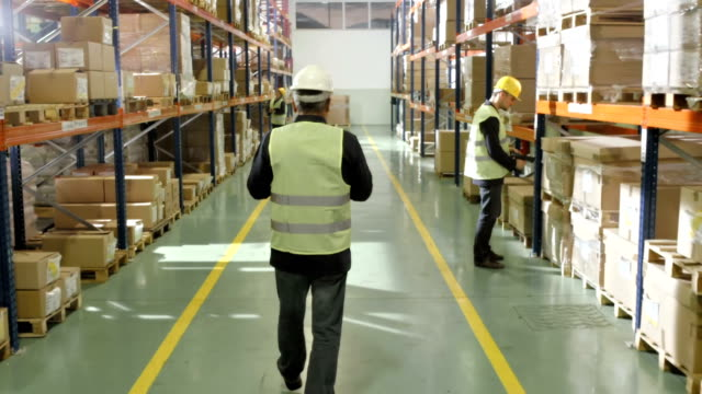 stockvideo's en b-roll-footage met warehouse employee walking down pallet racks - rear view