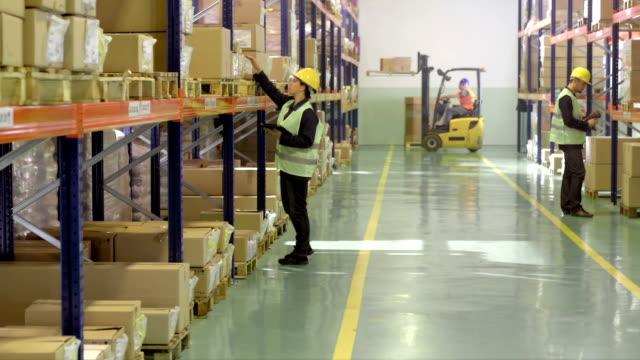vídeos de stock e filmes b-roll de armazém funcionários dando um inventário - capacete