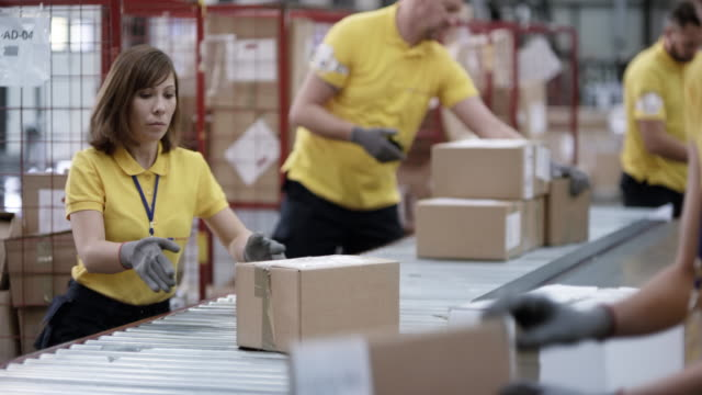 warehouse employees scanning and sorting packages from the conveyor belt - officina video stock e b–roll